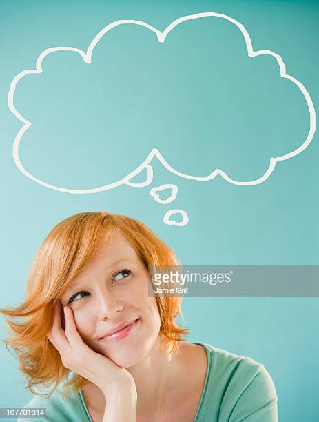 Young woman with thought bubble