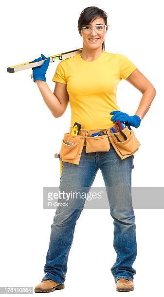 Junge Frau mit Handschuhen-Toolbelt Sicherheit Gläser