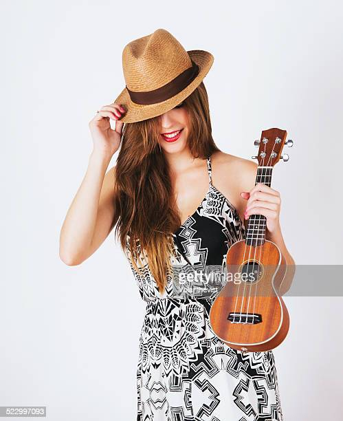 Young woman with ukelele
