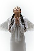 Young Woman with Wings Praying, Front View
