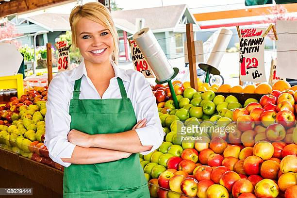 Young Woman Working at Farmers Market