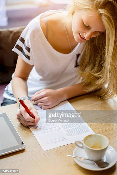Young woman working in a cafe