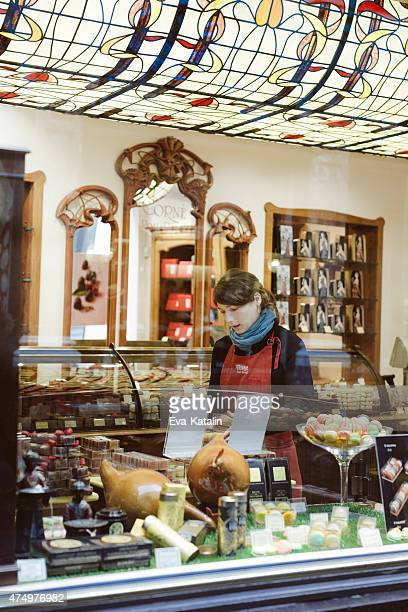 Young woman working in a chocolate shop