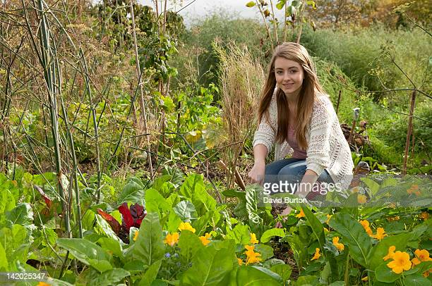 Young woman working in garden
