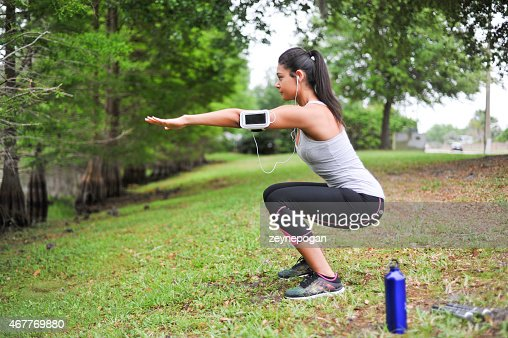 Young Woman working out in a peaceful environment