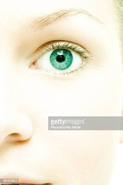 'Young woman's face, extreme close-up'