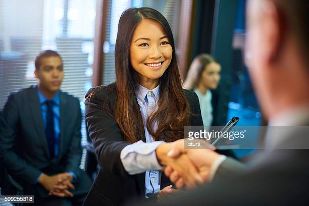 young woman's job interview