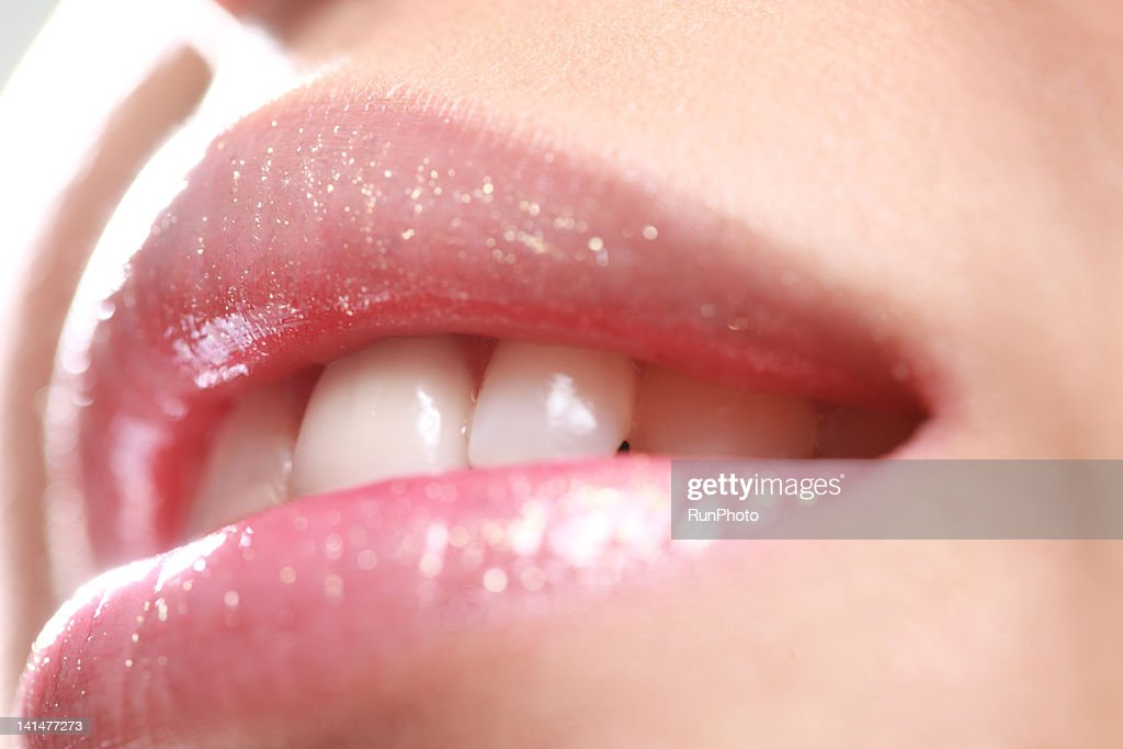 young woman's lip,close-up