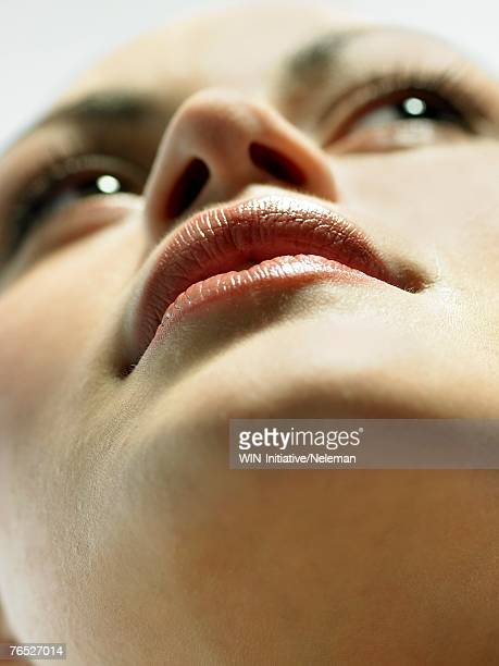 Young woman's lips, close-up