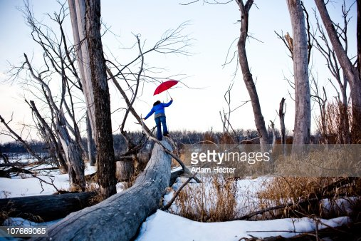 Young women balancing on a log in winter. : Stock Photo