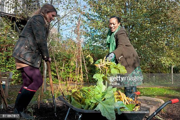 Young Women Enjoying Gardening, London City, UK