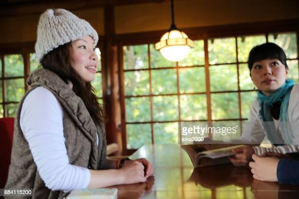 Young women enjoying in cafe