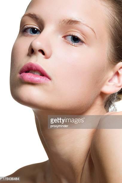 Junge Frauen Gesicht auf Weiß