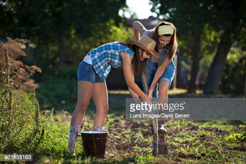 Young Women Gardening Croatia Slavonia Europe Stock Photo