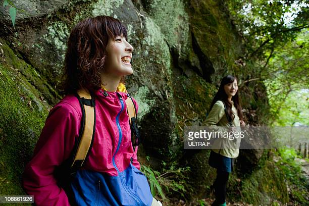 Young women goes on a hike in Hakone.
