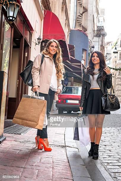 Young Women Having Fun while Shopping in Beyoglu, Istanbul, Turkey