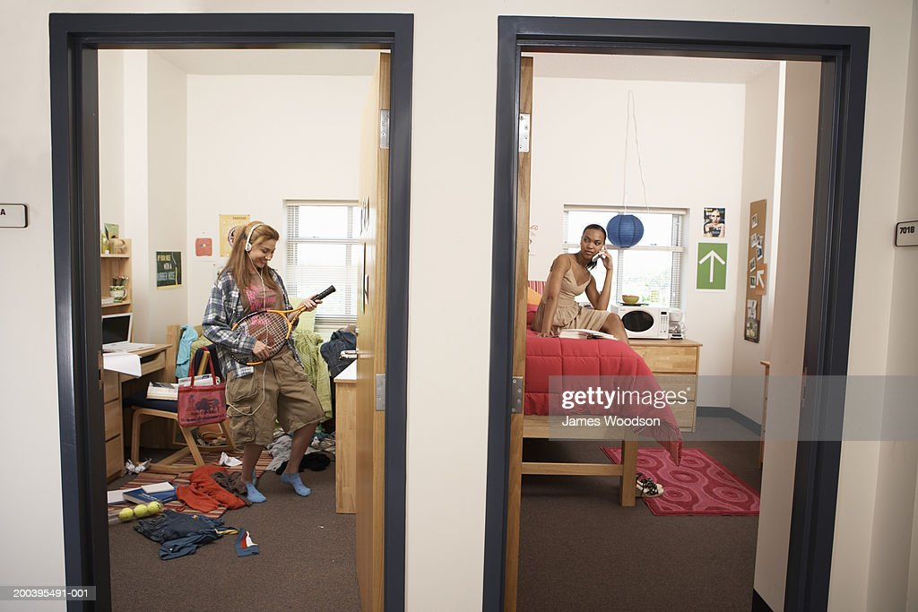 Young women in neat and messy dorm rooms