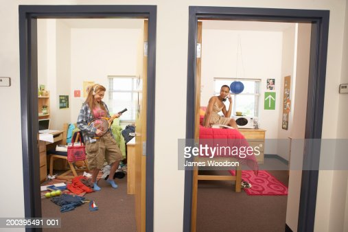 Young women in neat and messy dorm rooms : Stock Photo