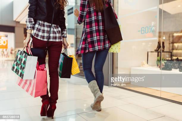 Young women on shopping