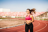 Professional women athlete on the track.