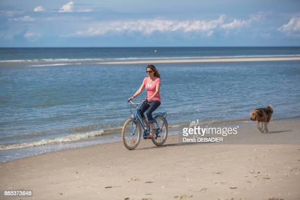 Young women with dogs riding a bike on the beach., Pas de Calais, Bitch.