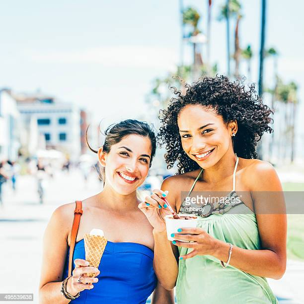 Young women with ice creams