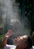 A young zoo visitor is sprayed with a mist of water when the zoo's orangutans press a button outside the Think Tank exhibit at the Smithsonian...