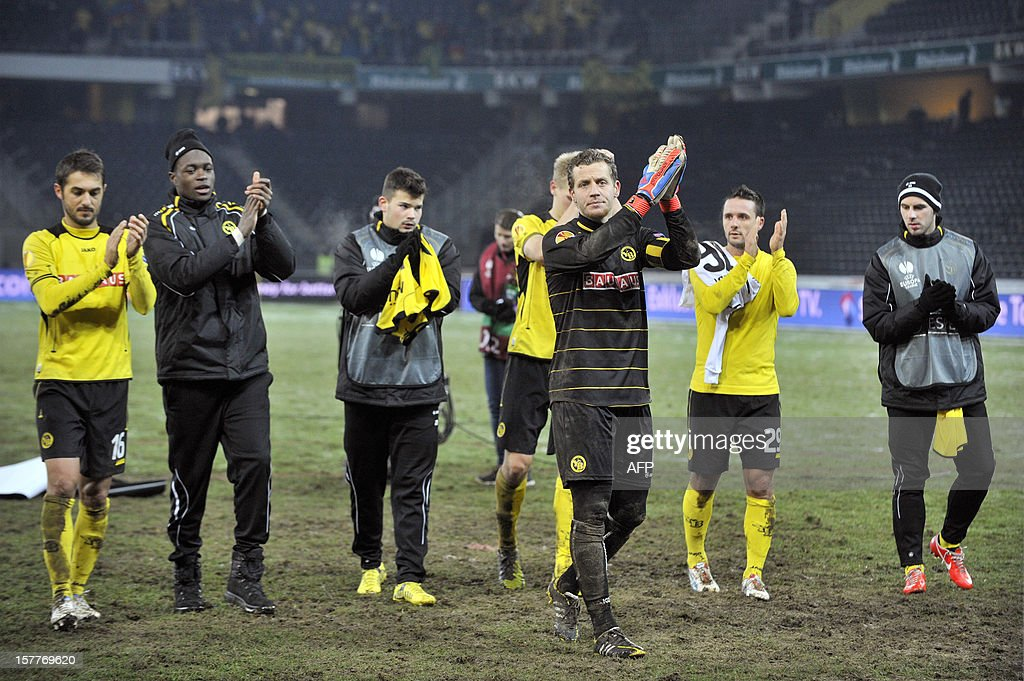 YoungBoys' players celebrate their victory at the end of the Europa League group A football match between BSC Young Boys and FC Anji Makhachkala on Decenber 6, 2012, in Bern. Despite winning the match the YoungBoys did not qualify for the next round of the Europa League championship.