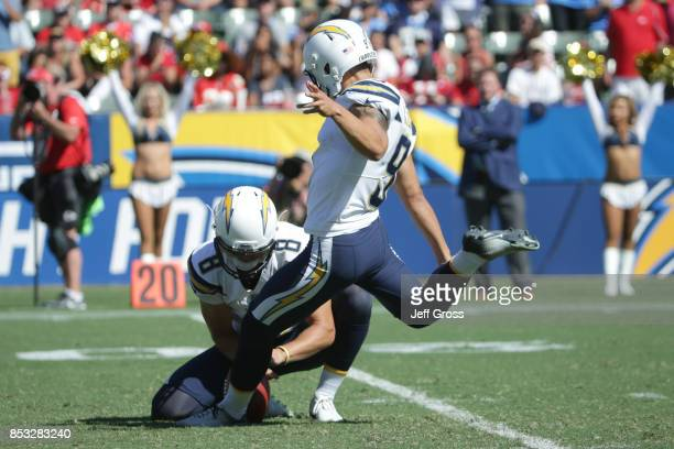Younghoe Koo of the Los Angeles Chargers kicks a field goal during the game against the Kansas City Chiefs at the StubHub Center on September 24 2017...