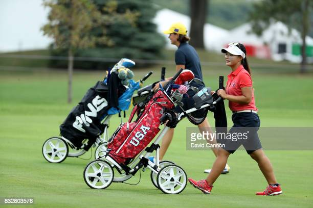 Youngin Chin of the United States team in her match against Esther Henseleit of Germany during the 2017 Ping Junior Solheim Cup matches at the Des...