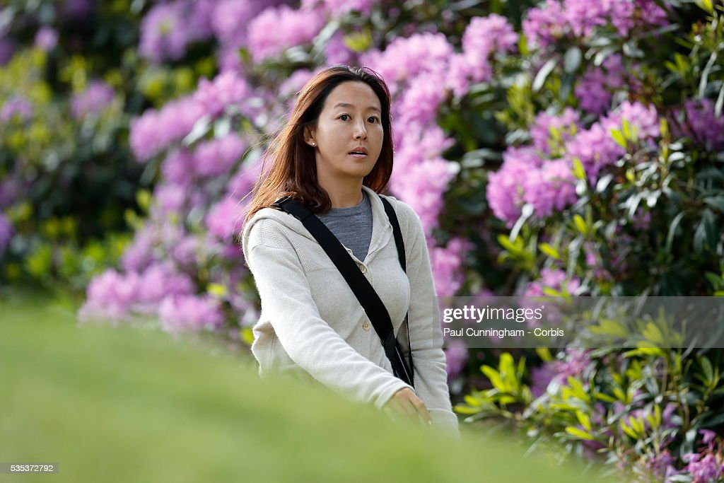 Young-Joo Park wife of Y.E Yang follows the round during day two of the BMW PGA Championship at Wentworth on May 27, 2016 in Virginia Water, England. Y.E Yang finished the day -10 under par