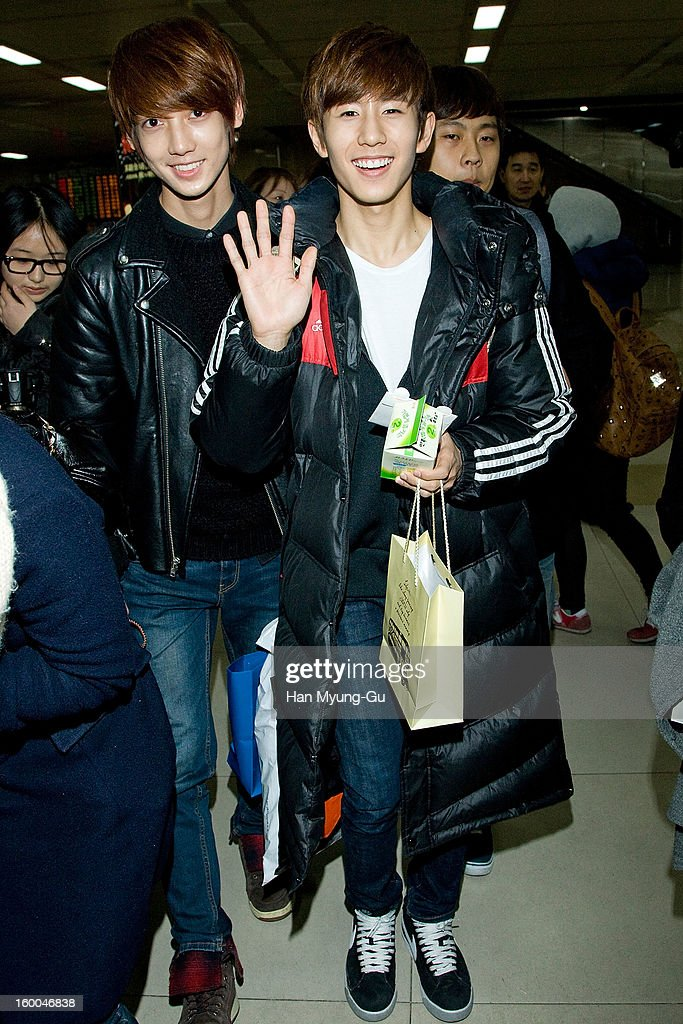 Young-Min (Youngmin) and Min-Woo (Minwoo) of South Korean boy band Boyfriend are seen at Gimpo International Airport on January 25, 2013 in Seoul, South Korea.