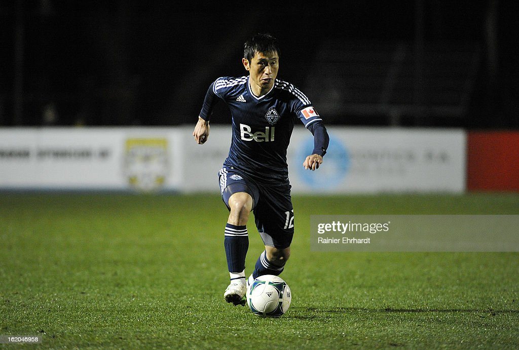 YoungPyo Lee of the Vancouver Whitecaps FC looks to pass during the first half of their game against the Charleston Battery at Blackbaud Stadium on...