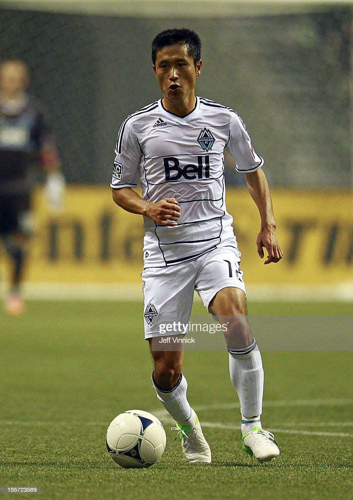 YoungPyo Lee of the Vancouver Whitecaps FC plays the ball during their MLS game against the Portland Timbers October 21 2012 at BC Place in Vancouver...