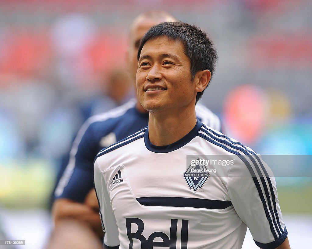 YoungPyo Lee of the Vancouver Whitecaps in action during warmups prior to an MLS match against the San Jose Earthquakes at BC Place on August 10 2013...