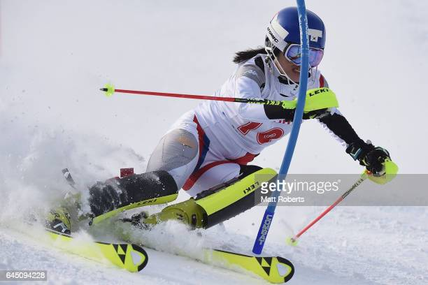 YoungSeo Kang of Korea competes in women's slalom alpine skiing on the day eight of the 2017 Sapporo Asian Winter Games at Sapporo Teine on February...