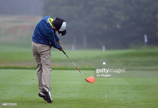 A youngster participates in the Drive Competition during the Drive Chip and Putt Championship at The Country Club on September 13 2015 in Brookline...