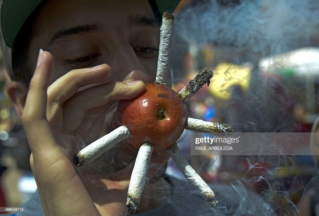 A youngster smokes marijuana joints on a apple during the World Day for the Legalization of Marijuana in Medellin, Antioquia department, Colombia on May 3, 2014. AFP PHOTO/Raul ARBOLEDA
