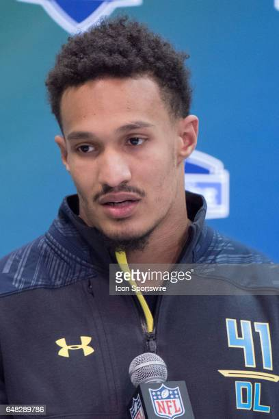 Youngstown defensive end Derek Rivers answers questions from members of the media during the NFL Scouting Combine on March 4 2017 at Lucas Oil...