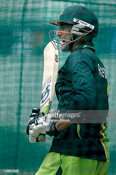 Younis Khan bats during a Pakistan nets session at the Punjab Cricket Association Stadium on March 28 2011 in Mohali India India will play Pakistan...