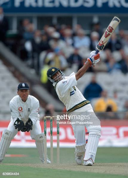 Younis Khan batting for Pakistan during the 2nd Test match between England and Pakistan at Old Trafford Manchester 31st May 2001 The wicketkeeper for...