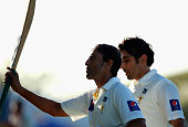 Younis Khan of Pakistan acknowledges the crowd after reaching his century during day two of the first test between Pakistan and New Zealand at Sheikh...