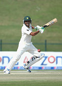 Younis Khan of Pakistan bats during Day Four of the Second Test between Pakistan and Australia at Sheikh Zayed Stadium on November 2 2014 in Abu...