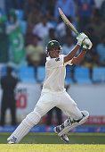Younis Khan of Pakistan bats during Day One of the First Test between Pakistan and Australia at Dubai International Stadium on October 22 2014 in...