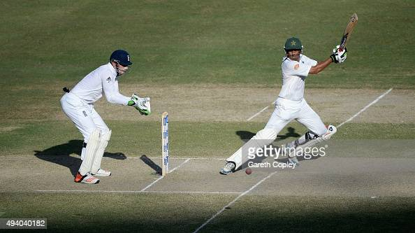 Younis Khan of Pakistan bats during day three of the 2nd test match between Pakistan and England at Dubai Cricket Stadium on October 24 2015 in Dubai...