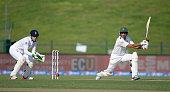 Younis Khan of Pakistan bats during the 1st Test between Pakistan and England at Zayed Cricket Stadium on October 13 2015 in Abu Dhabi United Arab...