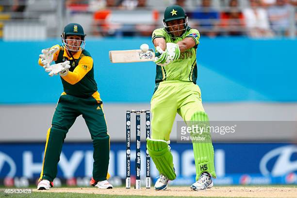 Younis Khan of Pakistan bats during the 2015 ICC Cricket World Cup match between South Africa and Pakistan at Eden Park on March 7 2015 in Auckland...