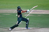 Younis Khan of Pakistan bats during the 4th One Day International match between Pakistan and New Zealand at Sheikh Zayed Stadium on December 17 2014...