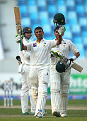 Younis Khan of Pakistan celebrates after reaching his century during Day One of the First Test between Pakistan and Australia at Dubai International...