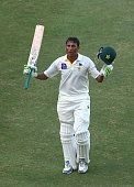Younis Khan of Pakistan celebrates after reaching his century during Day Four of the First Test between Pakistan and Australia at Dubai International...